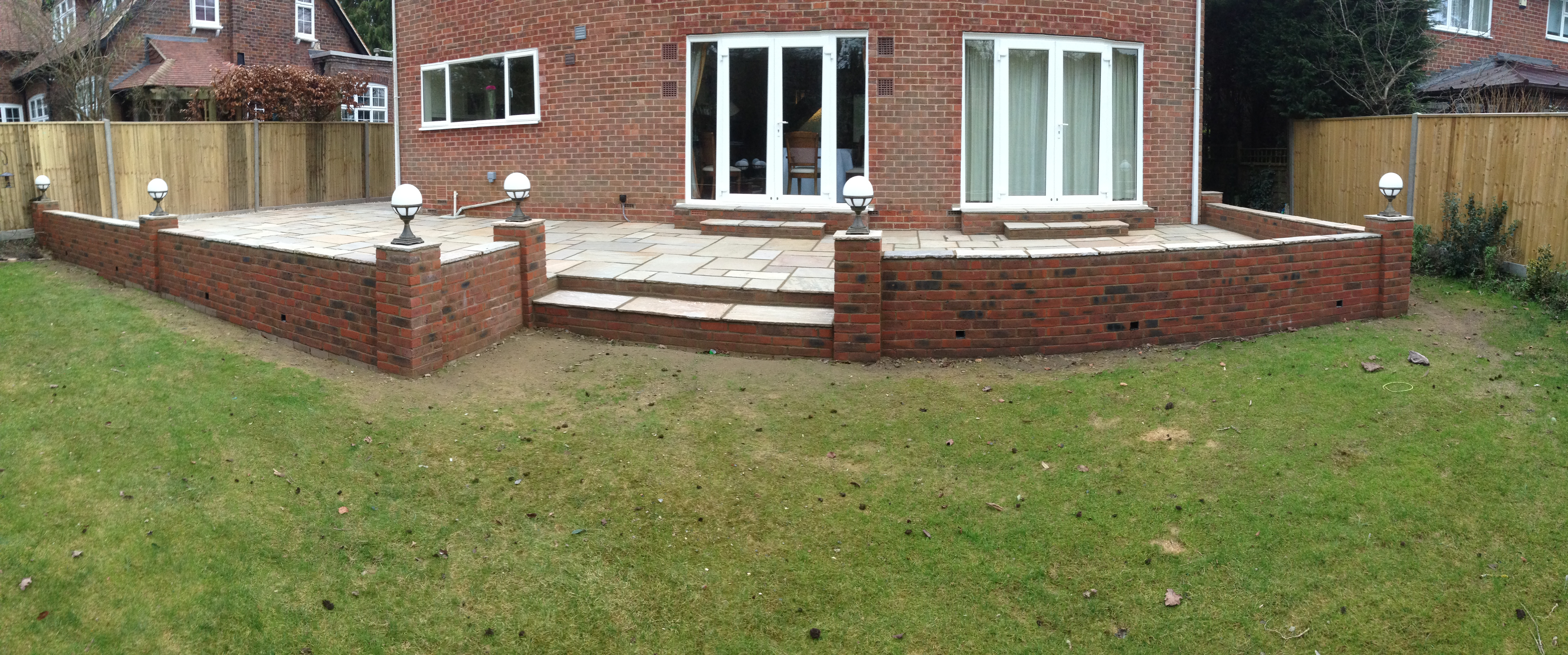 Sandstone Patio Retaining Wall And Lighting Winchester Landscapes